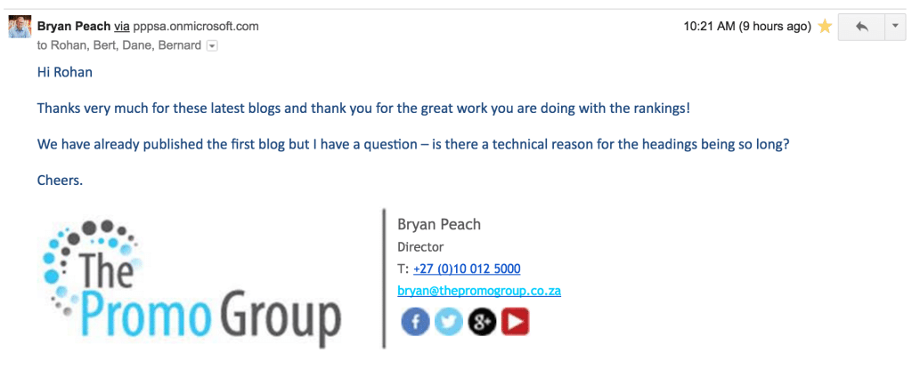 The Promo Group SEO Studio Testimonial